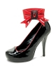 LEG AVENUE TWILIGHT 5 INCH PUMP WITH REMOVABLE BOW BLACK-RED SIZE 7