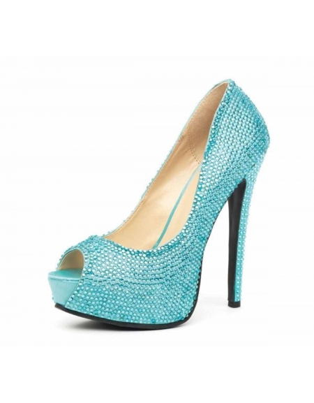 LEG AVENUE GLAMOUR 5.5 INCH SATIN RHINESTONE PEEP TOE PUMP WITH 2 IN COVERED PLATFORM TURQUOISE SIZE