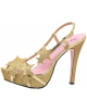 LEG AVENUE STARLIGHT NEW DESIGN 4 INCH STRAPPY SANDAL GOLD SIZE 7