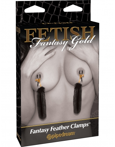 FETISH FANTASY GOLD FANTASY FEATHER NIPPLE CLAMPS BLACK
