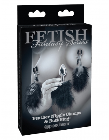 FETISH FANTASY SERIES FEATHER NIPPLE CLAMPS AND BUTT PLUG