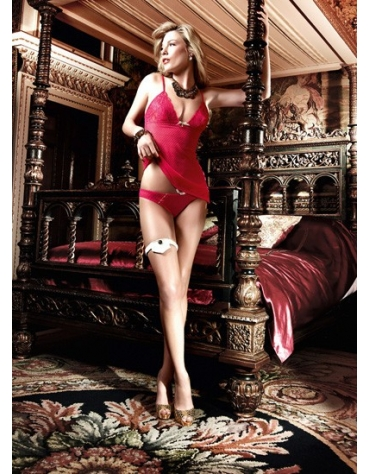 BACI MESH AND LACE CHEMISE AND BIKINI SET OS RED