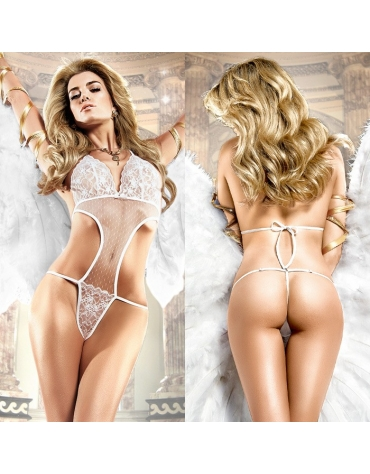 BACI LACE AND MESH TEDDY OS WHITE