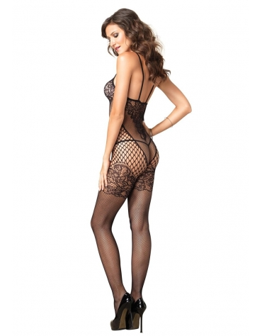 LEG AVENUE SEAMLESS DUAL NET BODYSTOCKING WITH LACE BODICE AND GARTER DETAIL OS BLACK