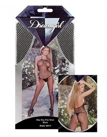 DREAMGIRL SEAMLESS FISHNET OPEN CROTCH BODYSTOCKING OS BLACK