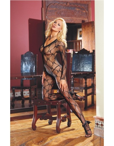 DREAMGIRL LACE LONG SLEEVED BODYSTOCKING WITH OPEN CROTCH OS BLACK