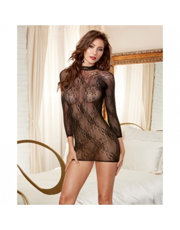 DREAMGIRL SEAMLESS STRETCH LACE TUNIC OS BLACK