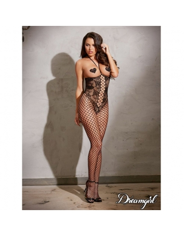DREAMGIRL OPEN-CUP BODYSTOCKING WITH KNITTED-LACE OS BLACK