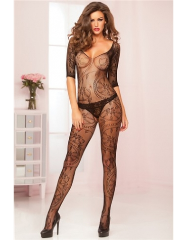 SEVEN TIL MIDNIGHT SWIRL AND FLORAL LACE OPEN CROTCH BODY STOCKING OS RED