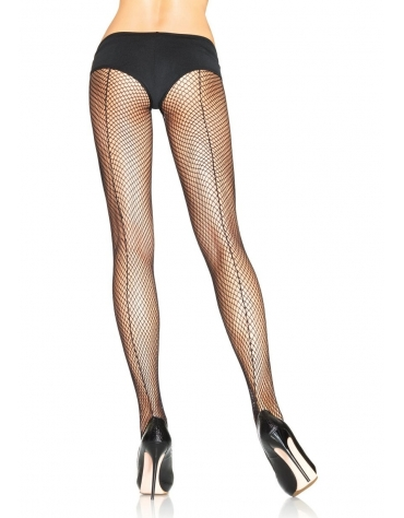 LEG AVENUE FISHNET PANTYHOSE WITH BACKSEAM OS BLACK
