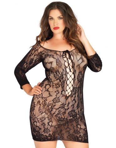 LEG AVENUE LONG SLEEVED FLORAL LACE MINI DRESS WITH LACE UP NET DETAIL PLUS SIZE BLACK