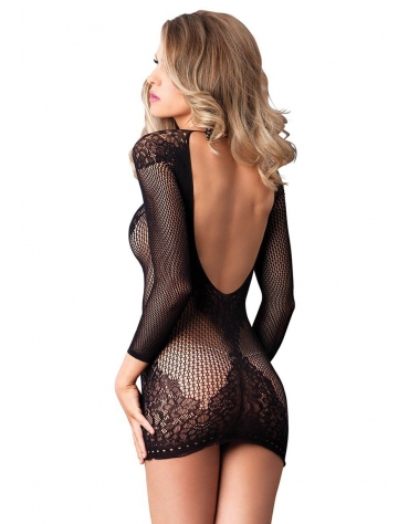 LEG AVENUE LONG SLEEVED RING NET AND FLORAL LACE MINI DRESS OS BLACK