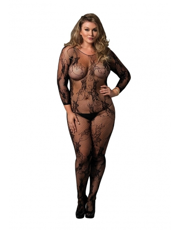 LEG AVENUE SEAMLESS FLORAL LACE LONG SLEEVED BODYSTOCKING PLUS SIZE BLACK