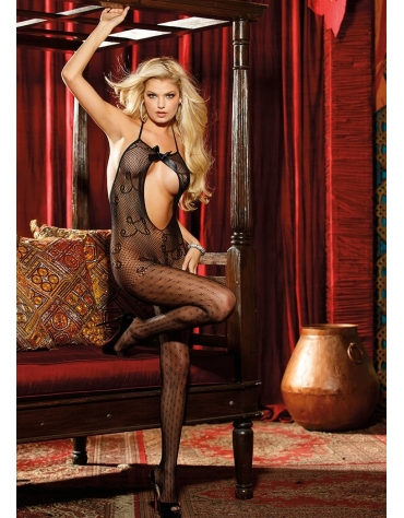 SHIRLEY OPEN FRONT ALL OVER LACE BODYSTOCKING OS BLACK