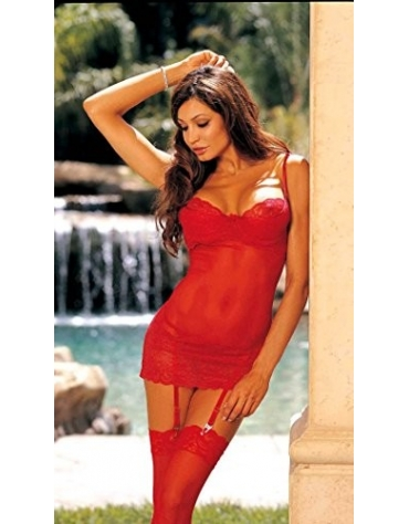 SHIRLEY CHEMISE MESH AND LACE XS BLACK AND RED