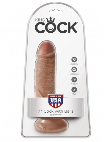 KING COCK 7 INCH COCK WITH BALLS TAN