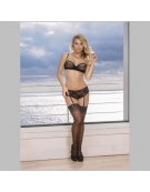 EXPOSED BRA AND GARTERED CROTCHLESS PANTY WITH OPEN BACK S-M BLACK