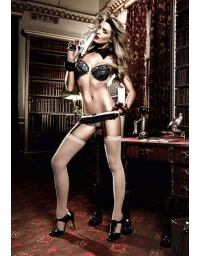 BACI LACE AND MESH GARTERBELT OS CHAMPAGNE AND BLACK