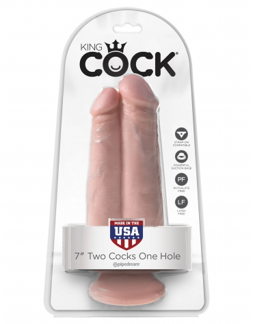 KING COCK 7 INCH TWO COCKS ONE HOLE FLESH