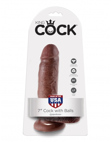 KING COCK 7 INCH COCK WIHT BALLS BROWN