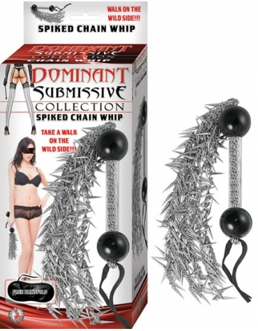 DOMINANT SUBMISSIVE COLLECTION SPIKED CHAIN WHIP
