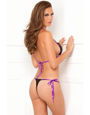 RENE ROFE LINGERIE 2-PC LACE TIE-UP BRA AND THONG SET OS BLACK