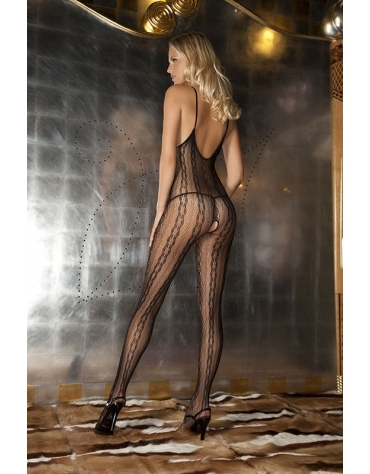 RENE ROFE LINGERIE SEDUCTIVE LACE BODYSTOCKING BLK ONE SIZE