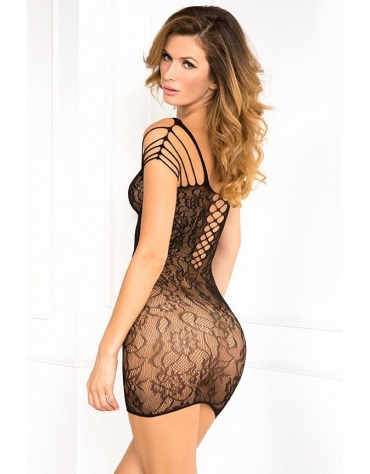 RENE ROFE OFF THE HOOK LACE DRESS OS BLACK
