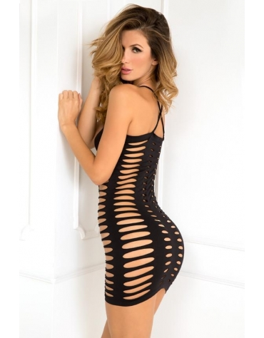 RENE ROFE SEXY SIDE SLASH SEAMLESS DRESS M-L BLACK