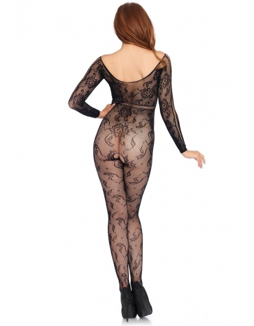 LEG AVENUE SEAMLESS LACE LONG SLEEVE BODYSTOCKING WITH LACE UP NET STRIPE DETAIL OS BLACK