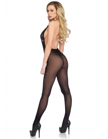 LEG AVENUE BACKLESS HKEYHOLE LACE AND OPAQUE BODYSTOCKING OS BLACK