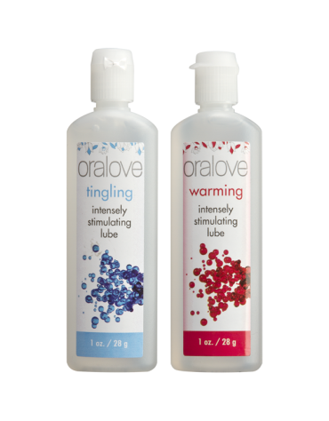 ORALOVE DYNAMIC DUO WARMING AND TINGLING LICKABLE GLIDES 1 FL OZ EACH