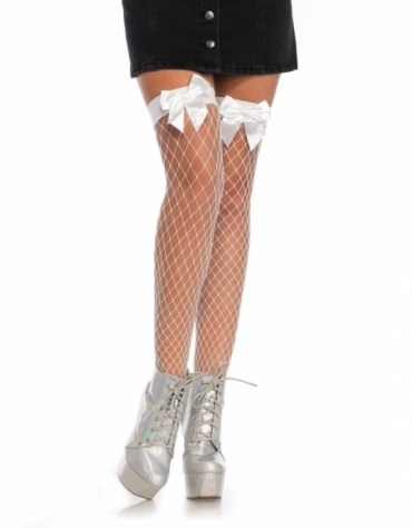 LEG AVENUE FENCE NET BOW TOP THIGH HIGHS OS WHITE