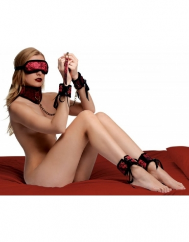 XR FRISKY RED DRAGON 5 PIECE SATIN BONDAGE SET