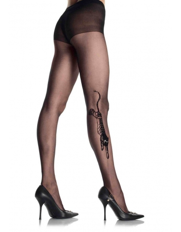 LEG AVENUE TIGER TATTOO SHEER PANTYHOSE OS BLACK
