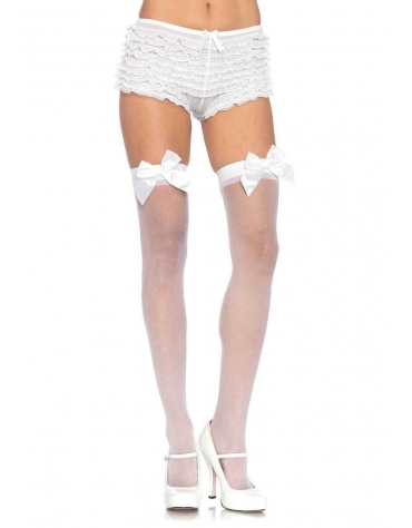 LEG AVENUE SHEER THIGH HIGHS WITH SATIN BOW ACCENT OS WHITE
