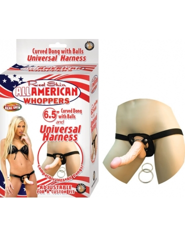 REAL SKIN ALL AMERICAN WHOPPERS 6.5 INCH DONG WITH UNIVERSAL HARNESS