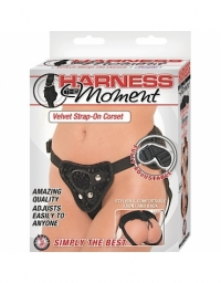 HARNESS THE MOMENT VELVET STRAP-ON CORSET BLACK