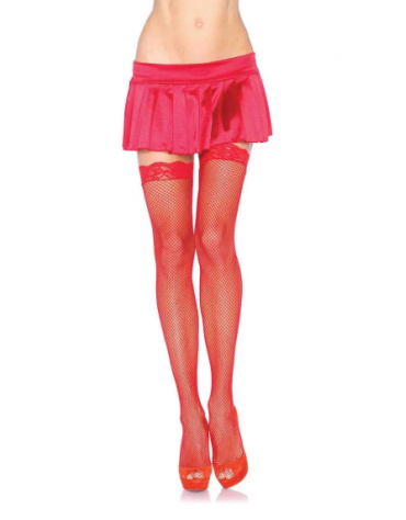 LEG AVENUE FISHNET STOCKINGS WITH LACE TOP OS RED