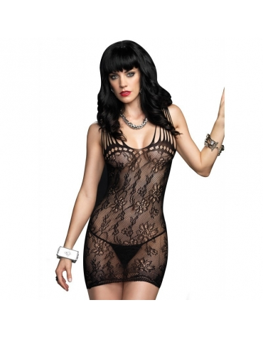 LEG AVENUE FLORAL LACE MINI DRESS WITH SHREDDED STRAP DETAIL OS BLACK