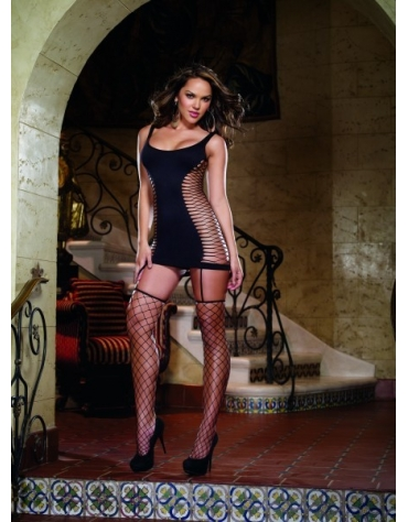 DREAMGIRL OPAQUE AND FENCE NET GARTER DRESS OS BLACK