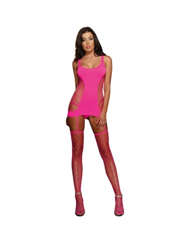 DREAMGIRL OPAQUE AND FENCE NET GARTER DRESS OS NEON PINK